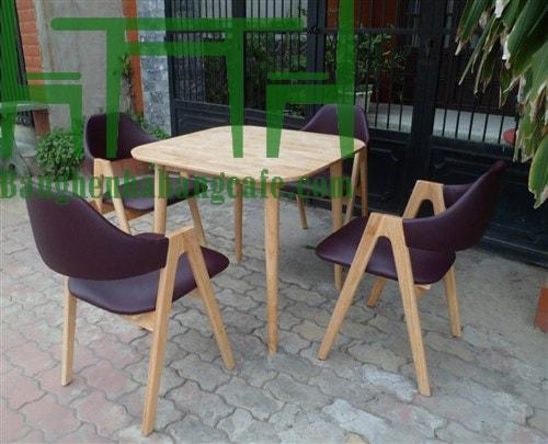 Bàn ghế cafe gỗ sồi