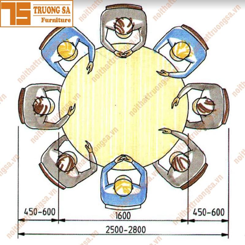 kích thước bàn ăn tròn 8 người