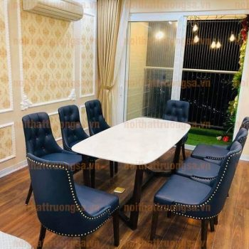 Bộ bàn ăn 8 ghế mặt đá TS373