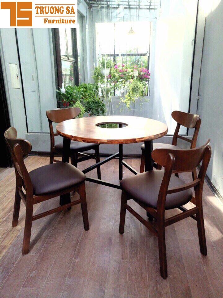 Bộ bàn ăn tròn 4 ghế Mango