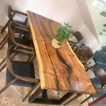 bàn ghế ăn gỗ nguyên khối TS119