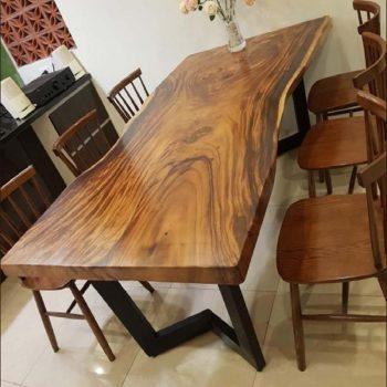 bàn ghế ăn gỗ nguyên khối TS120