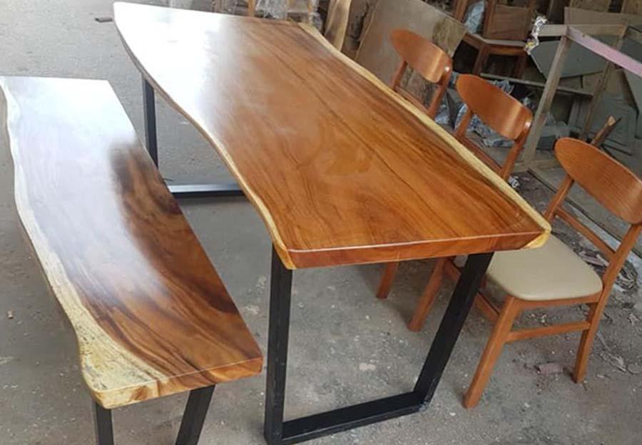 bàn ghế gỗ nguyên tấm TS126
