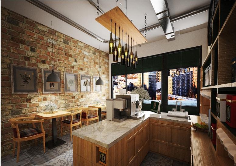 thiết kế quầy bar cafe