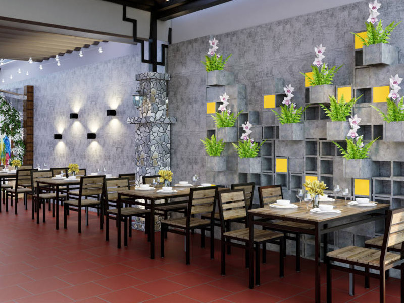 thiết kế nhà hàng sân vườn