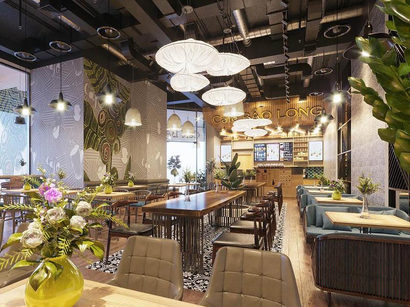 thiết kế quán cafe mặt tiền 5m
