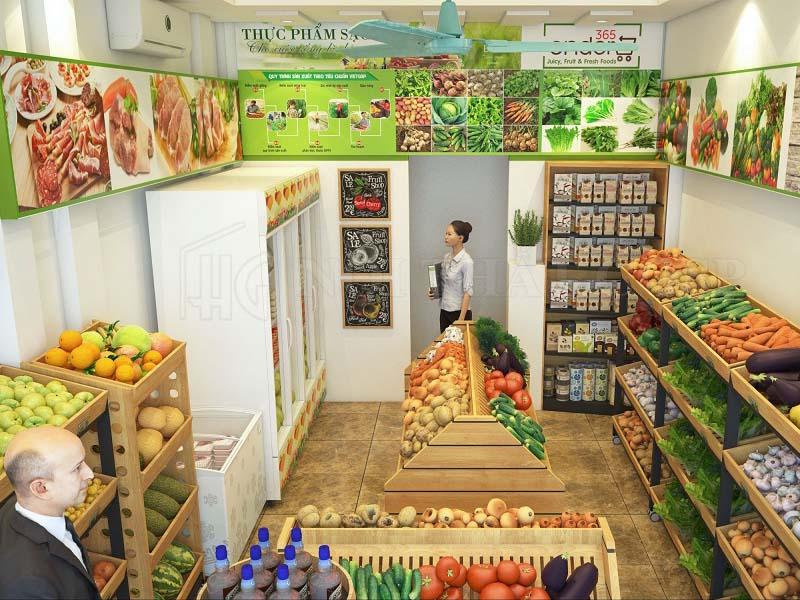 thiết kế cửa hàng thực phẩm sạch