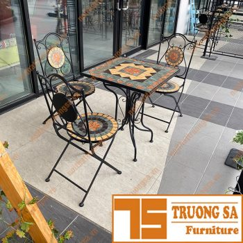 Bàn ghế sắt cafe TS110