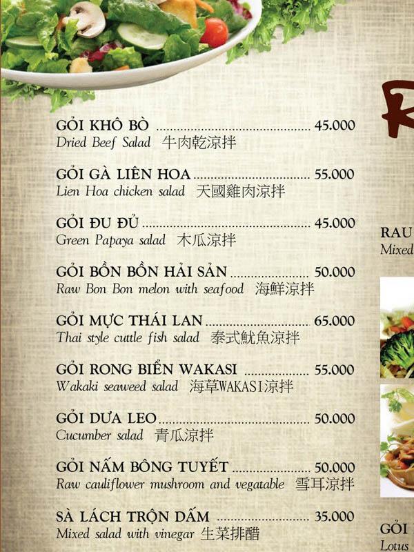thiết kế menu nhà hàng