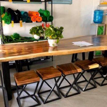 bàn cafe gỗ nguyên tấm TS118