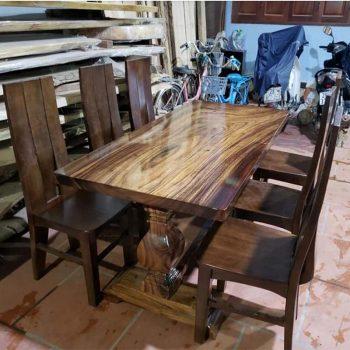 bàn ghế ăn gỗ nguyên tấm TS124