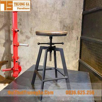 ghế bar chân sắt mặt gỗ TS493