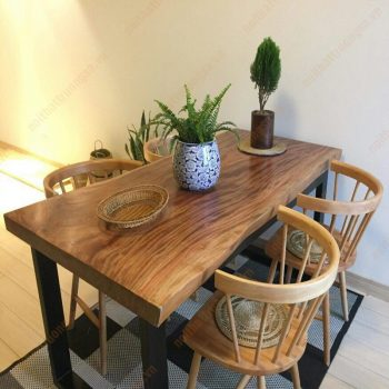Mẫu bàn ghế gỗ nguyên khối TS455